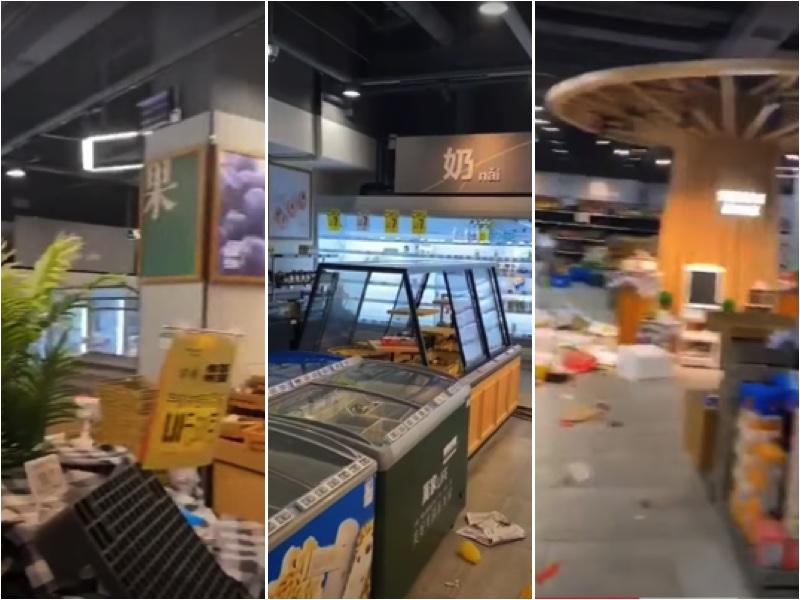 廣州某超市被洗劫一空。(視頻截圖)