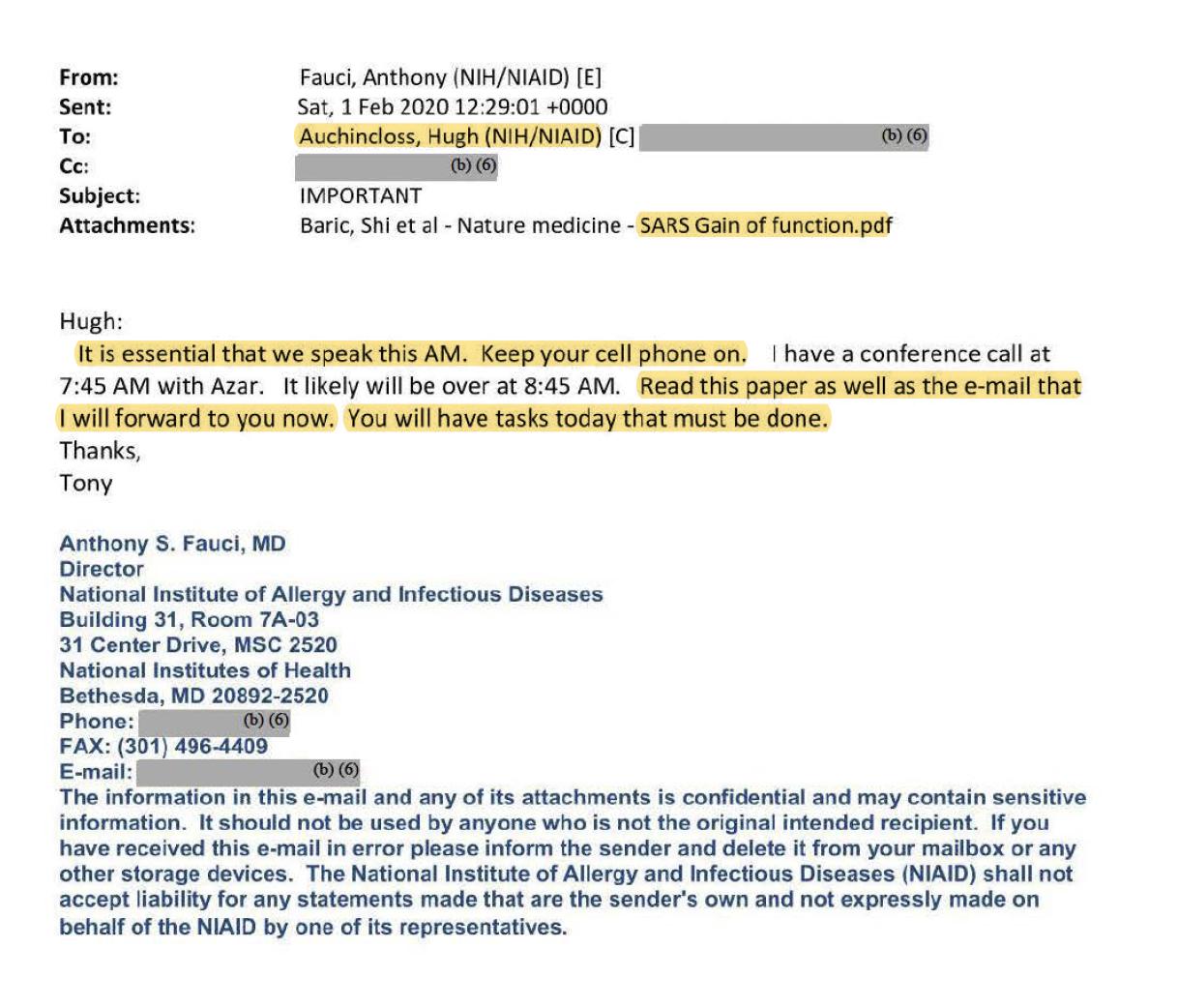 圖三:福奇給NIAID首席副主任奧金克洛斯(Hugh Auchincloss)發送了2015年《自然》雜誌上那篇詳細介紹「功能增益性」實驗、並得到NIH資助的文章。(福奇電郵截圖)