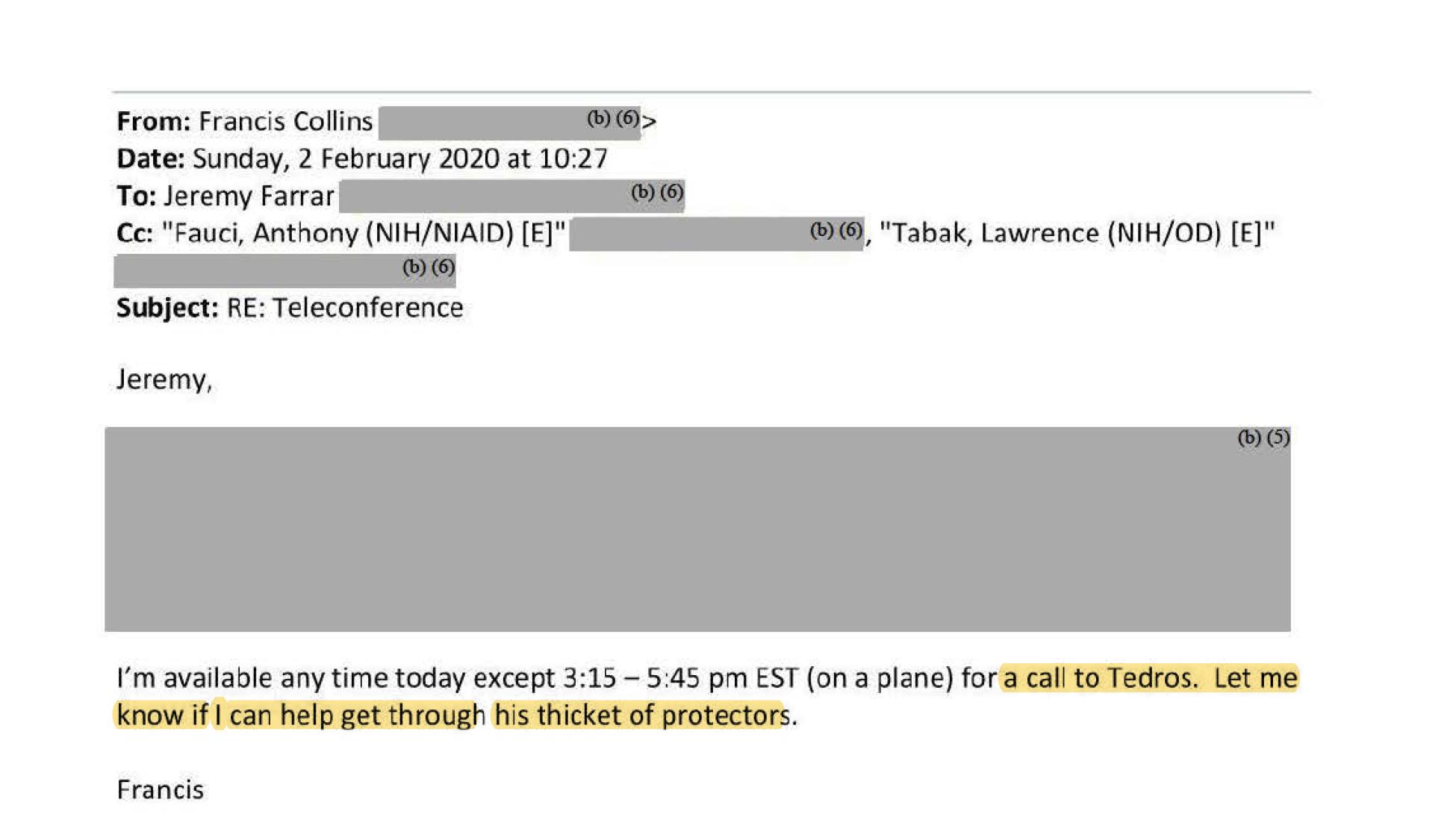 圖六:NIH負責人柯林斯(Collins)稱他可以「與譚德塞通話」,並寫道:「告訴我,如果我能夠幫助打通他的層層保護關卡。」(福奇電郵截圖)