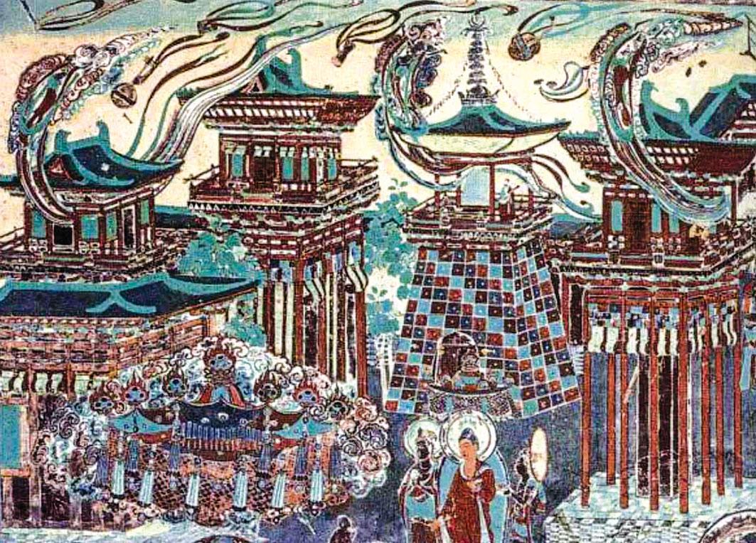 此為敦煌莫高窟的唐代第217窟北壁壁畫一隅,描繪的是模擬人間殿堂的佛國建築。(公有領域)
