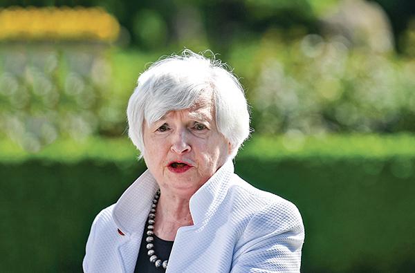 美國財政部長耶倫(Janet Yellen)6月5日在記者會上講話。(Getty Images)