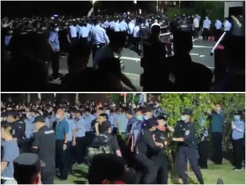 江蘇省南京師範大學中北學院因為轉設引發學生不滿,在校園抗議,遭警方鎮壓。(影片截圖/大紀元合成)