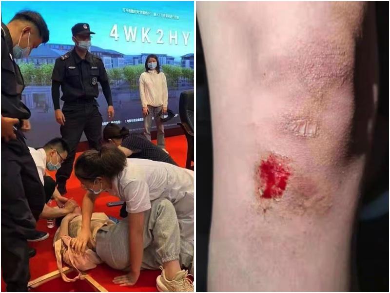 江蘇抗議學生遭警方毆打。(受訪者提供/大紀元合成)