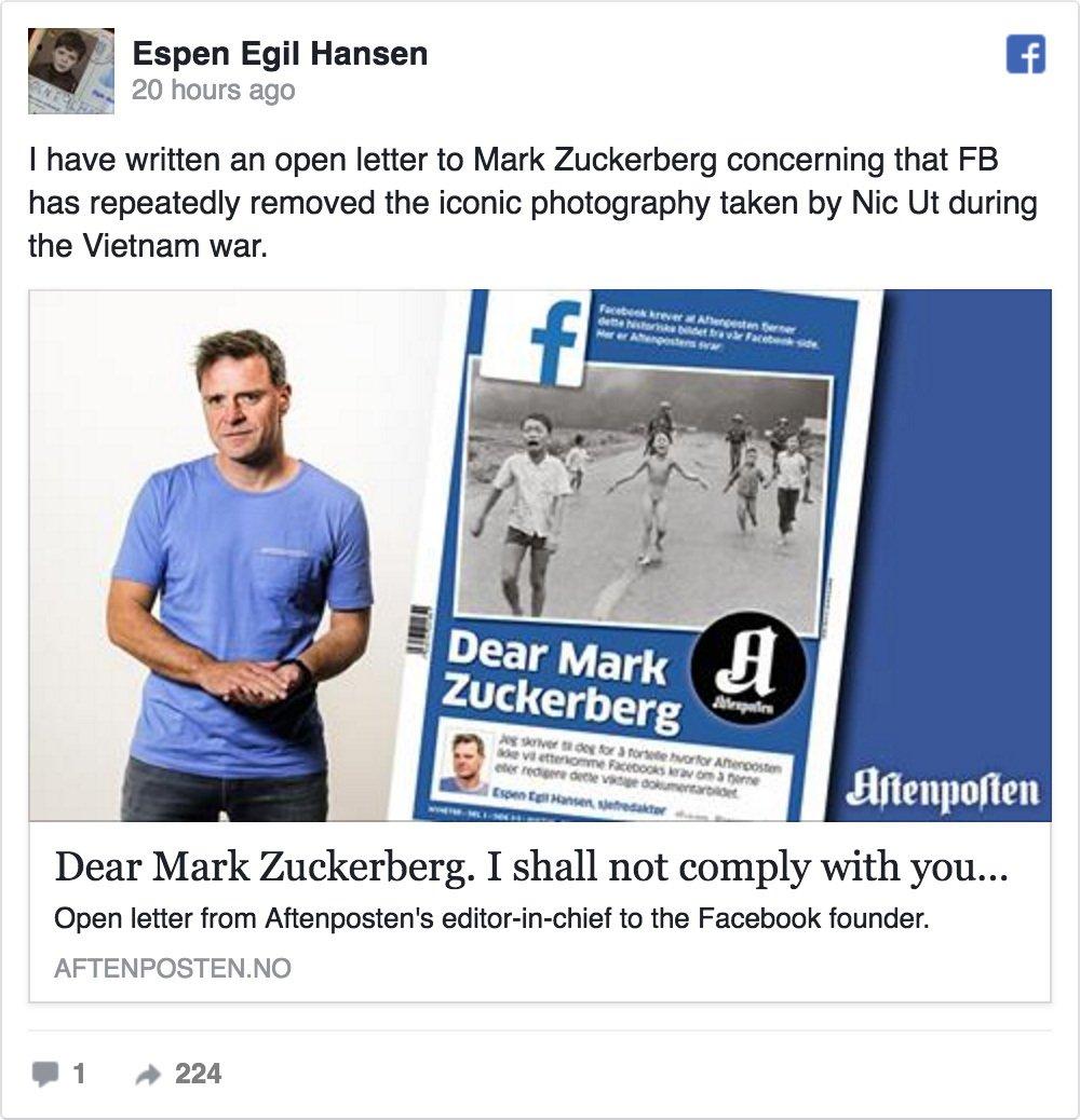 不滿挪威作家上傳Facebook的越戰經典照片遭到Facebook刪除,挪威晚郵報總編輯昨天(8日)在報刊頭版刊登給Facebook創辦人朱克伯格(Mark Zuckerberg)的公開信,痛批Facebook審查過度。(Facebook擷圖)