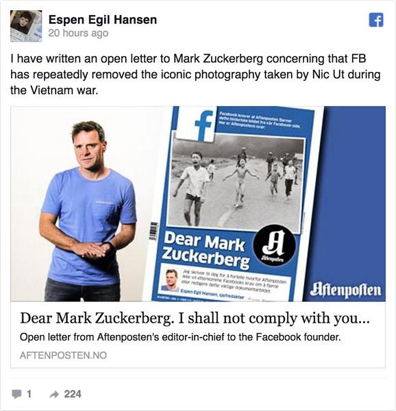 Facebook刪越戰經典照 挪威大報痛批
