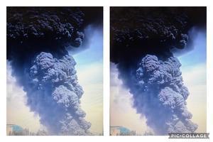新疆石河子矽廠爆炸 黑黑的蘑菇雲似原子彈爆炸