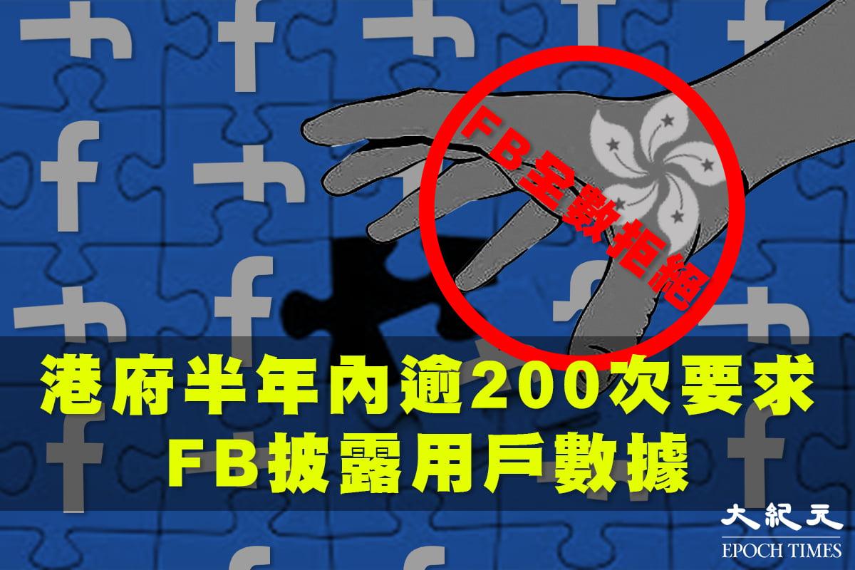 根據Facebook公佈的「透明度報告」指,在去年「港版國安法」生效後半年內,香港特區政府和警方曾向Facebook提出202次披露用戶數據的請求,但遭Facebook全數拒絕。(大紀元製圖)