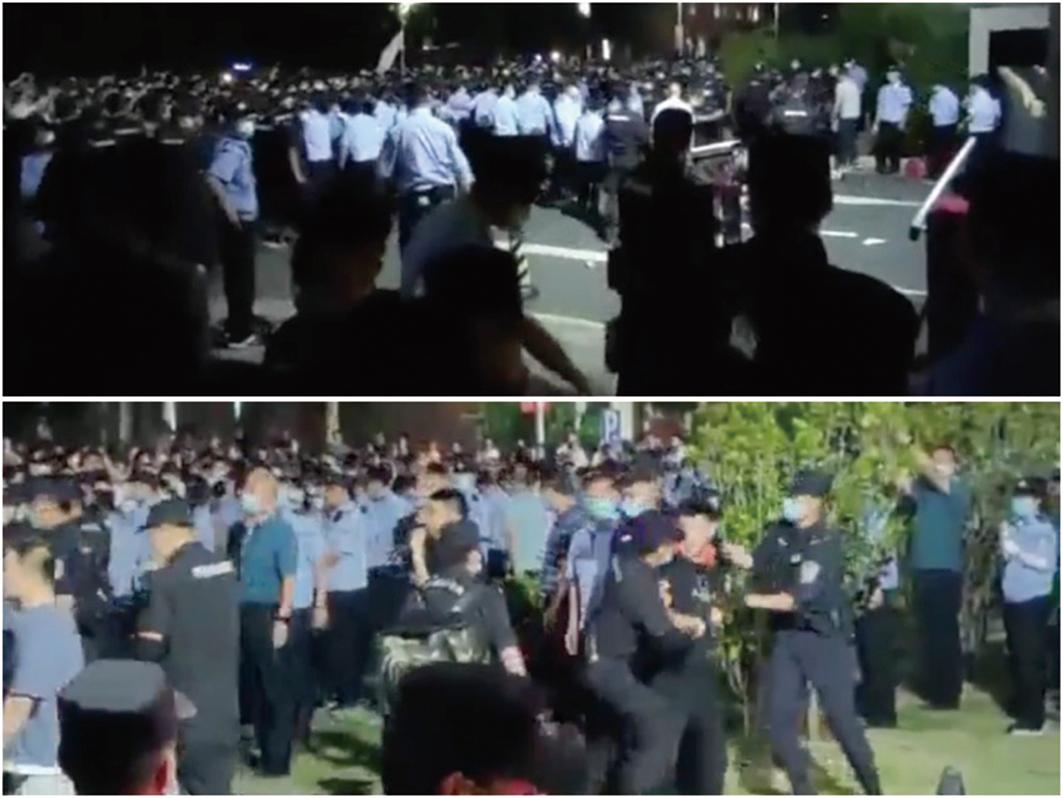 江蘇省南京師範大學中北學院因為轉設引發學生不滿,在校園抗議,遭警方鎮壓。(影片截圖大紀元合成)