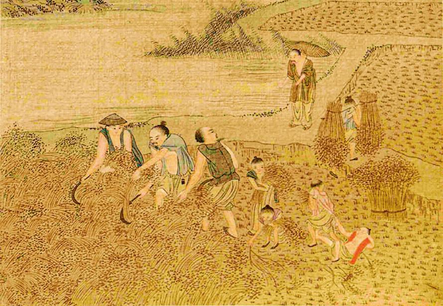 鄉親劉顯等因貧窮無以為生,汝道就把自己的田地分割給他們,讓他們靠種田過活。圖為清 焦秉貞《耕織圖》冊(局部)。( 公有領域)