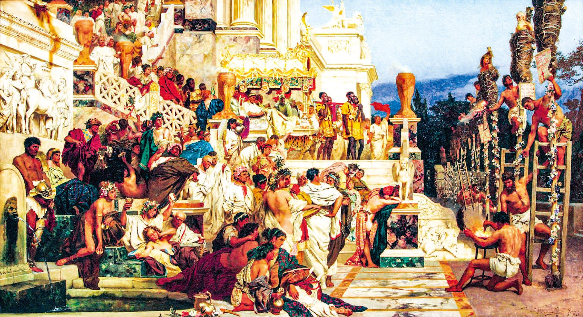 《尼祿的火炬》(The Torches of Nero),1882年作。該油畫描述羅馬皇帝尼祿用火刑迫害基督徒的情景。圖中右邊基督徒被包裹著乾草準備點燃;左邊無論是貴族,還是平民,都悠然地等待欣賞。( 公有領域)