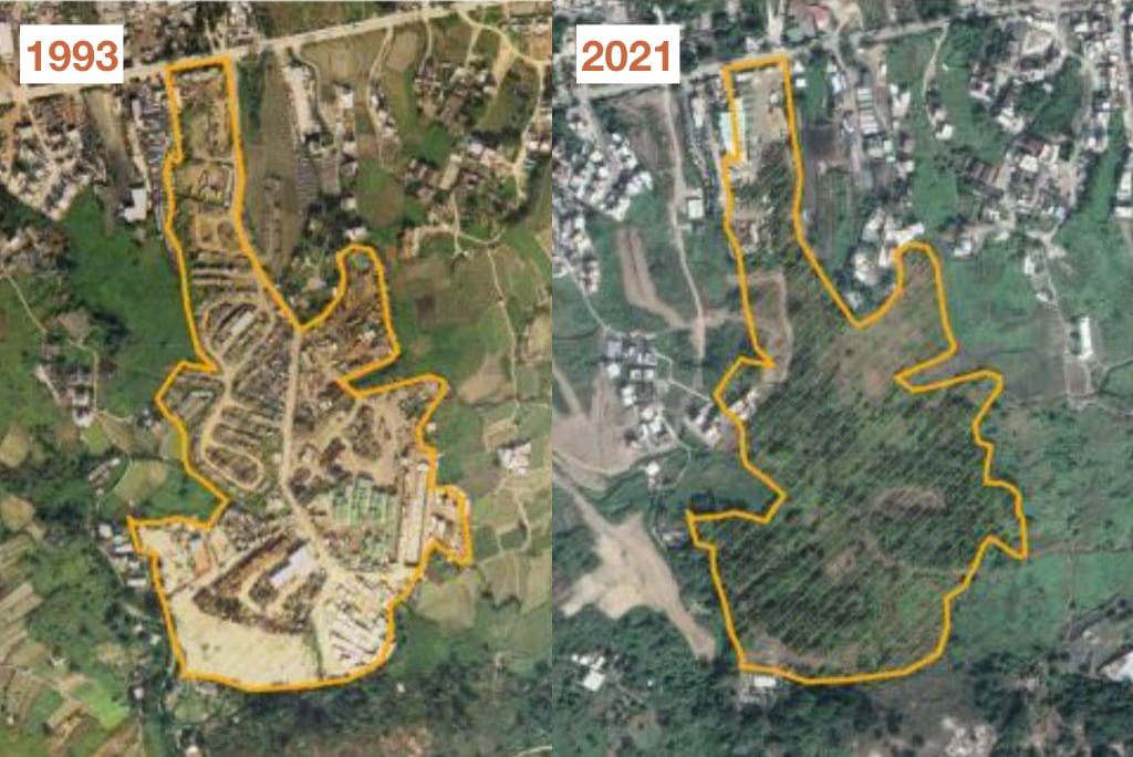 研究團隊指全港約有70公頃的「隱形棕地」,如元朗花蓮地1993為「棕地」,2021年的衛星圖片顯示為綠地。(本土研究社及綠色和平提供)
