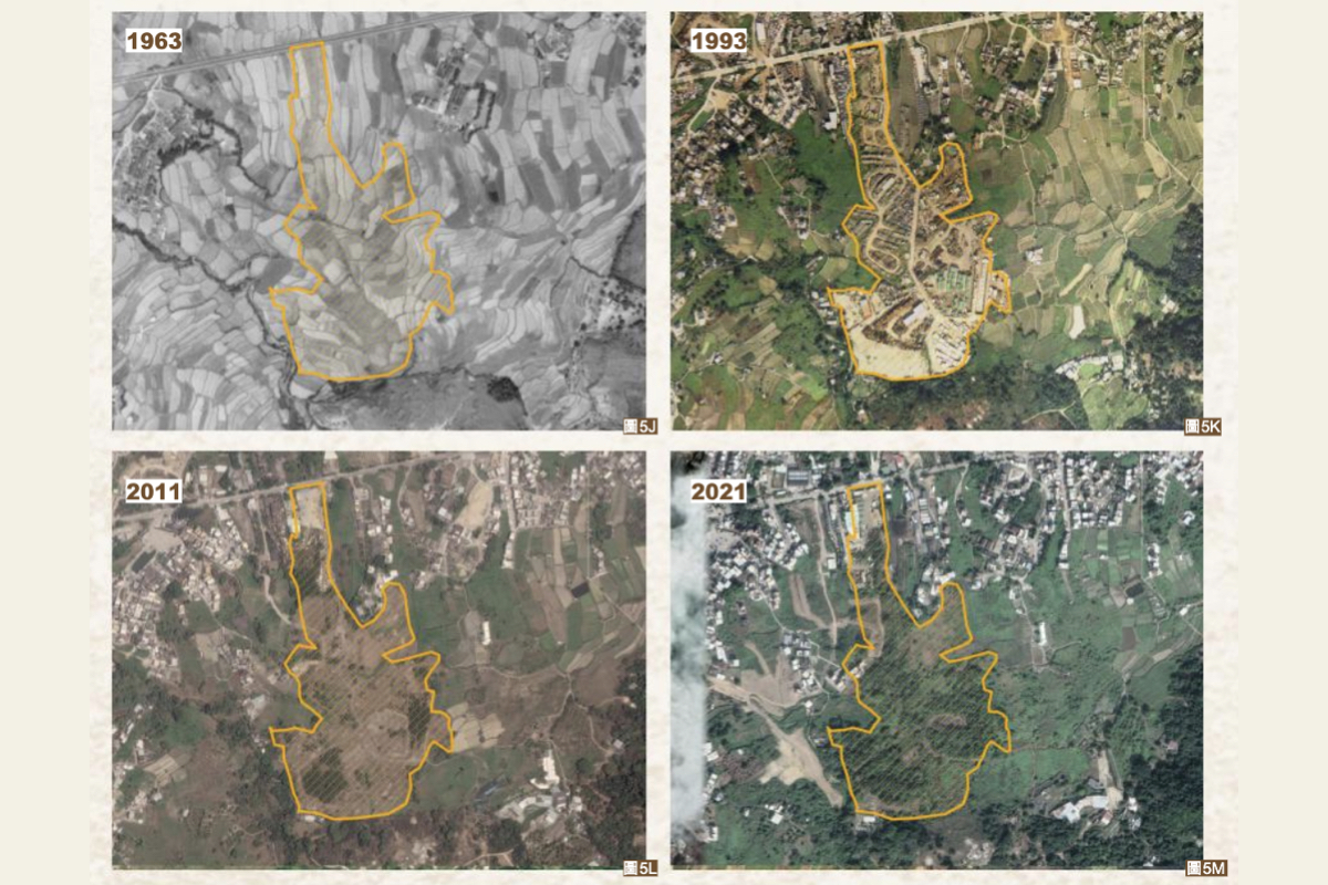 元朗蓮花地的「隱形棕地」,1982的衛星圖片顯示該地塊已被平整破壞,部份土地被用作露天貯物場,面積一度達9.7公頃,其後該棕地被閒置。(《失棕罪——香港棕地現況報告2021》)
