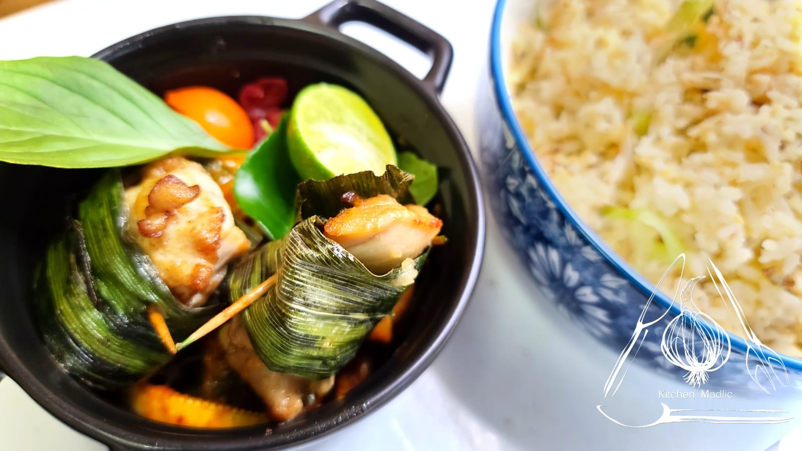 泰國紅咖哩香葉包雞。(Kitchen Madlic提供)