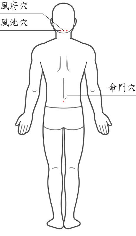 穴道溫熱療法 妙用吹風機 風府穴、風池穴:緩解發燒、頭痛、畏寒 命門穴:緩解肌肉痛、關節痛