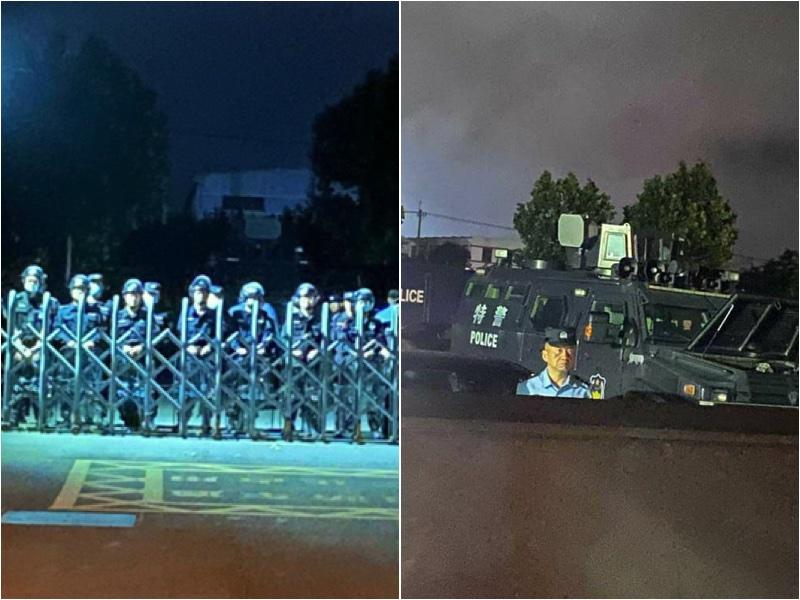 南京師範大學中北學院學生進行抗議活動後,防暴警察和防暴車進入校園鎮壓。(網絡圖片/大紀元合成)