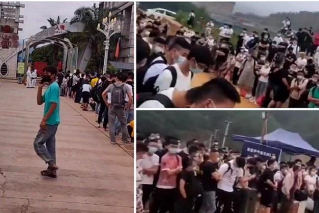 6月11日,大批在緬華人在楊龍寨口岸排隊等待回國。(受訪人提供)