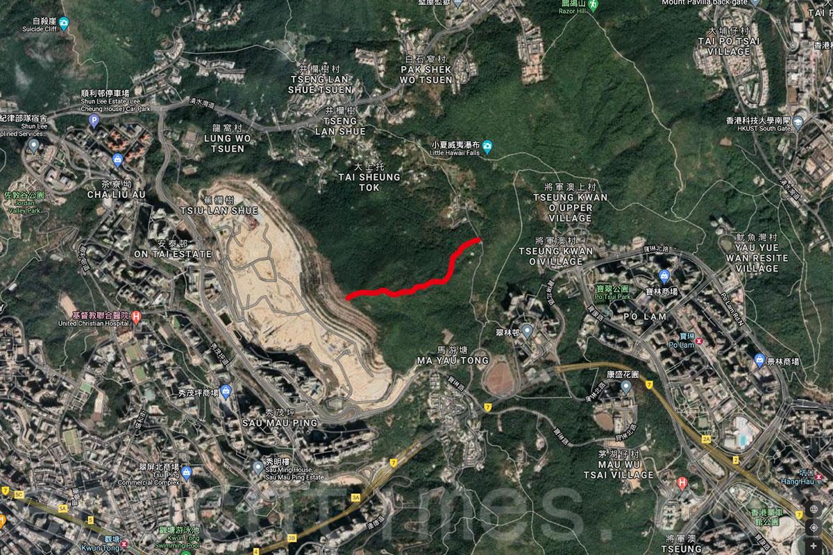 事件中的行山徑,為一段於西貢大上托連接安達臣道石礦場用地及衛奕信徑第三段的連接小徑(圖中以紅線標註)。(Google Maps)