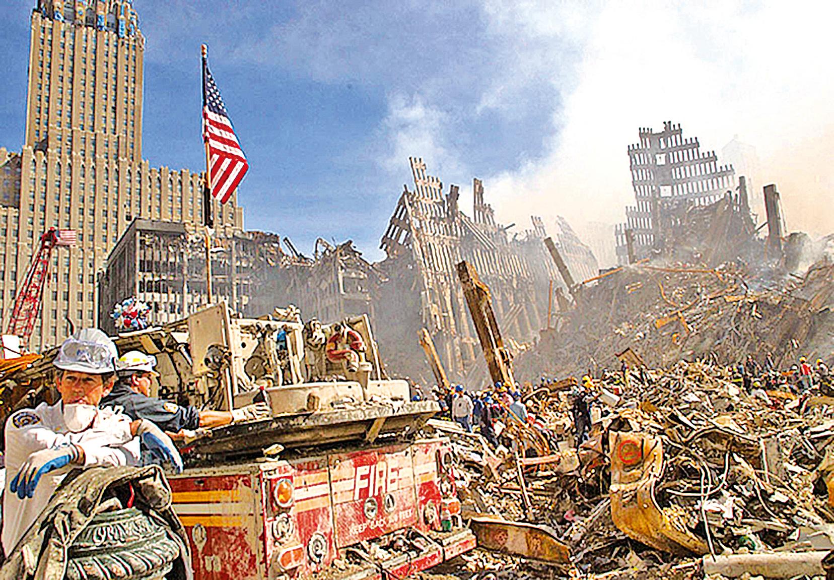 2001年9月13日,紐約世界貿易中心大樓倒塌後的現場一片狼藉。(AFP)