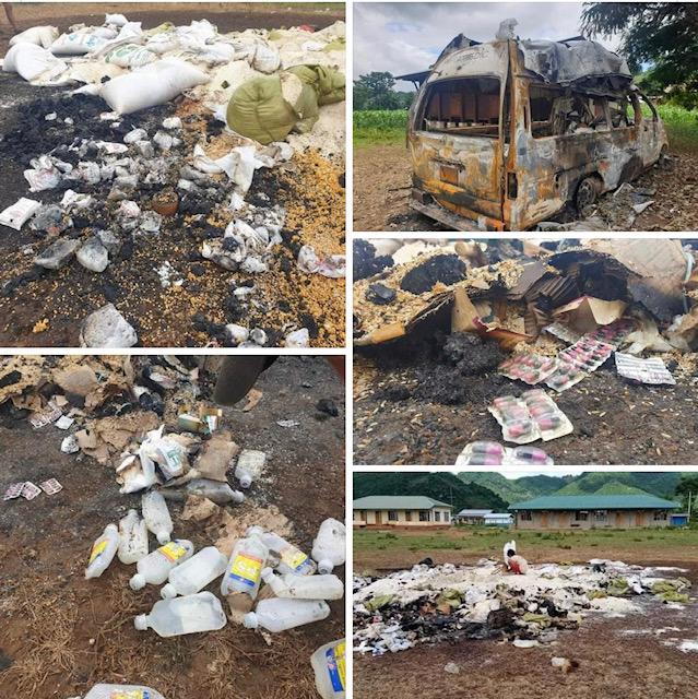 6月10日,緬軍把支援難民的大米和醫療用品無故燒毀。(受訪者提供)