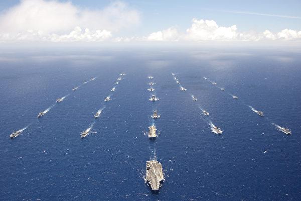 2021年以來,日美在釣魚台區域聯合軍演數量增多,4月16日美日聯合聲明之後,中共軍機擾台大減。圖為美國環太平洋軍演,僅為示意。與本文無關。 (公有領域)