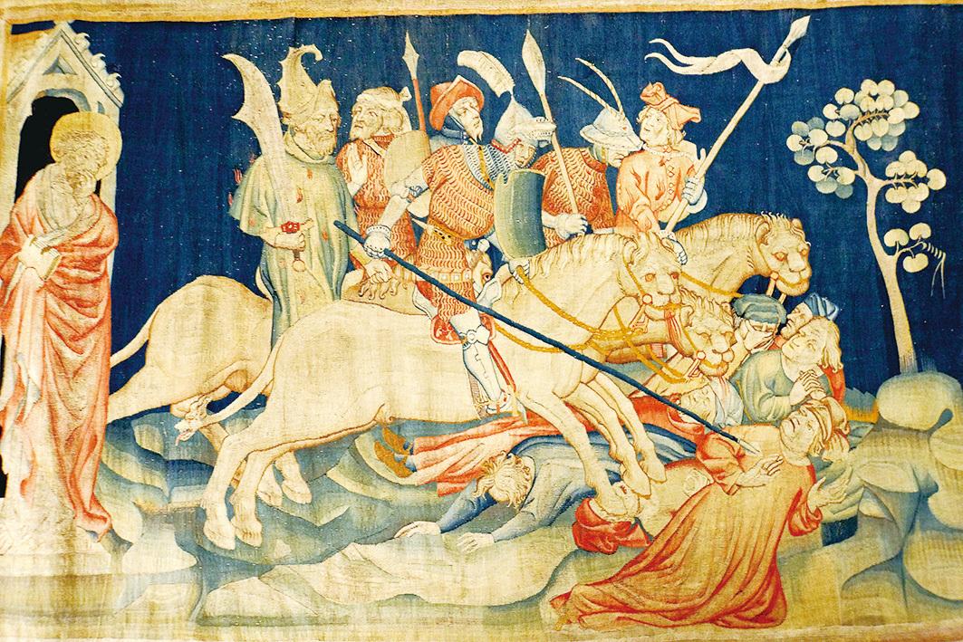 《啟示錄》壁毯,展示了「七天使吹七號」場景:天使吹響第六號之後,出現騎兵與馬,馬的頭好像獅子頭,有火、有煙、有硫磺,從馬的口中出來,殺了人的三分之一。(維基百科)