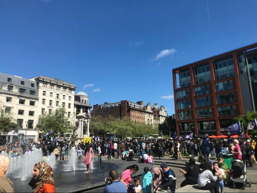 曼徹斯特亦舉行紀念6.12「反送中」兩周年集會,約數百人出席。(受訪者提供)