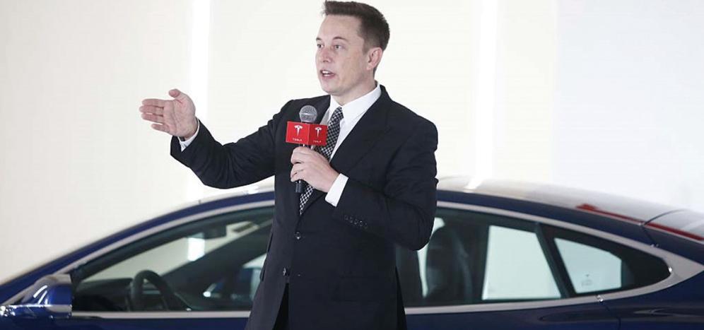 2015年10月23日,Tesla董事長馬斯克在記者會上。(VCG/VCG via Getty Images)