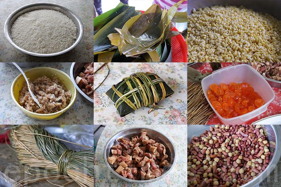 包糭前需要準備多種材料,糯米和豆類更需要預先浸泡。(陳仲明/大紀元)