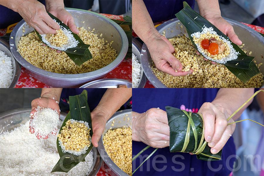 首先鋪一層糯米到竹葉上,再鋪上一層綠豆,加上一塊肥豬肉、兩個鹹蛋黃,然後先後鋪上一層綠豆和一層糯米,將竹葉捲起,再用另外兩塊竹葉包邊,最後用鹹水草包紮糭子完成。(陳仲明/大紀元)
