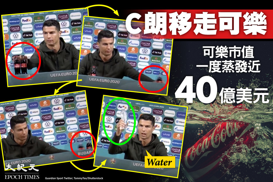 歐國盃入球王C朗移走可樂  可樂市值一度蒸發近40億美元