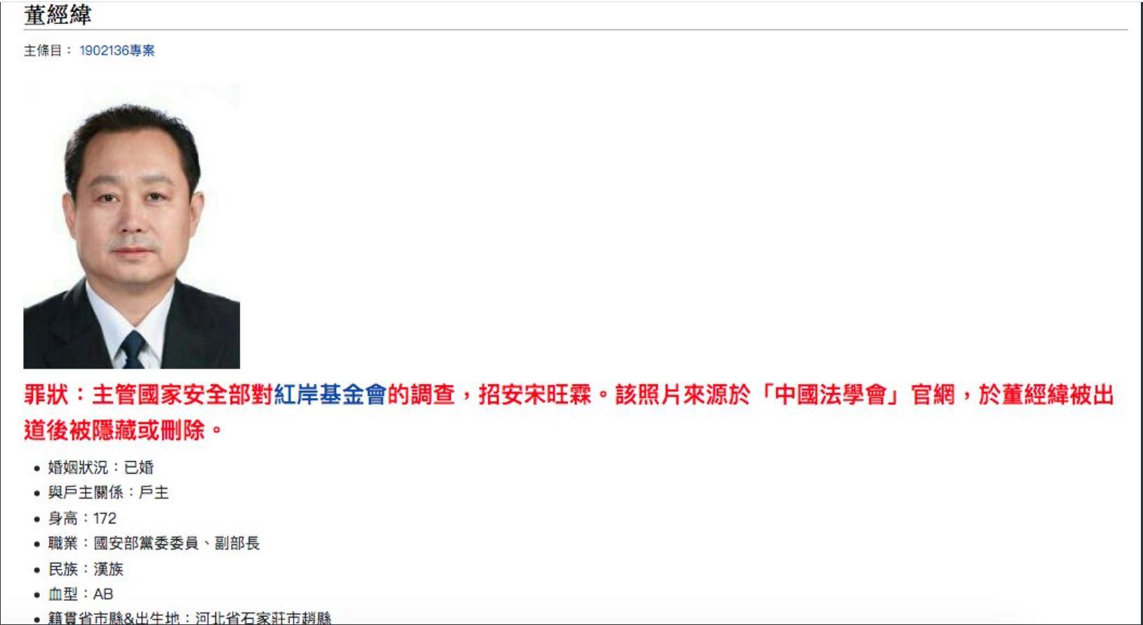 近日,美國媒體相繼曝出,中共史上最高級別的出逃者正是中共國安部副部長董經緯。圖爲網傳的董經緯照片。(推特截圖)
