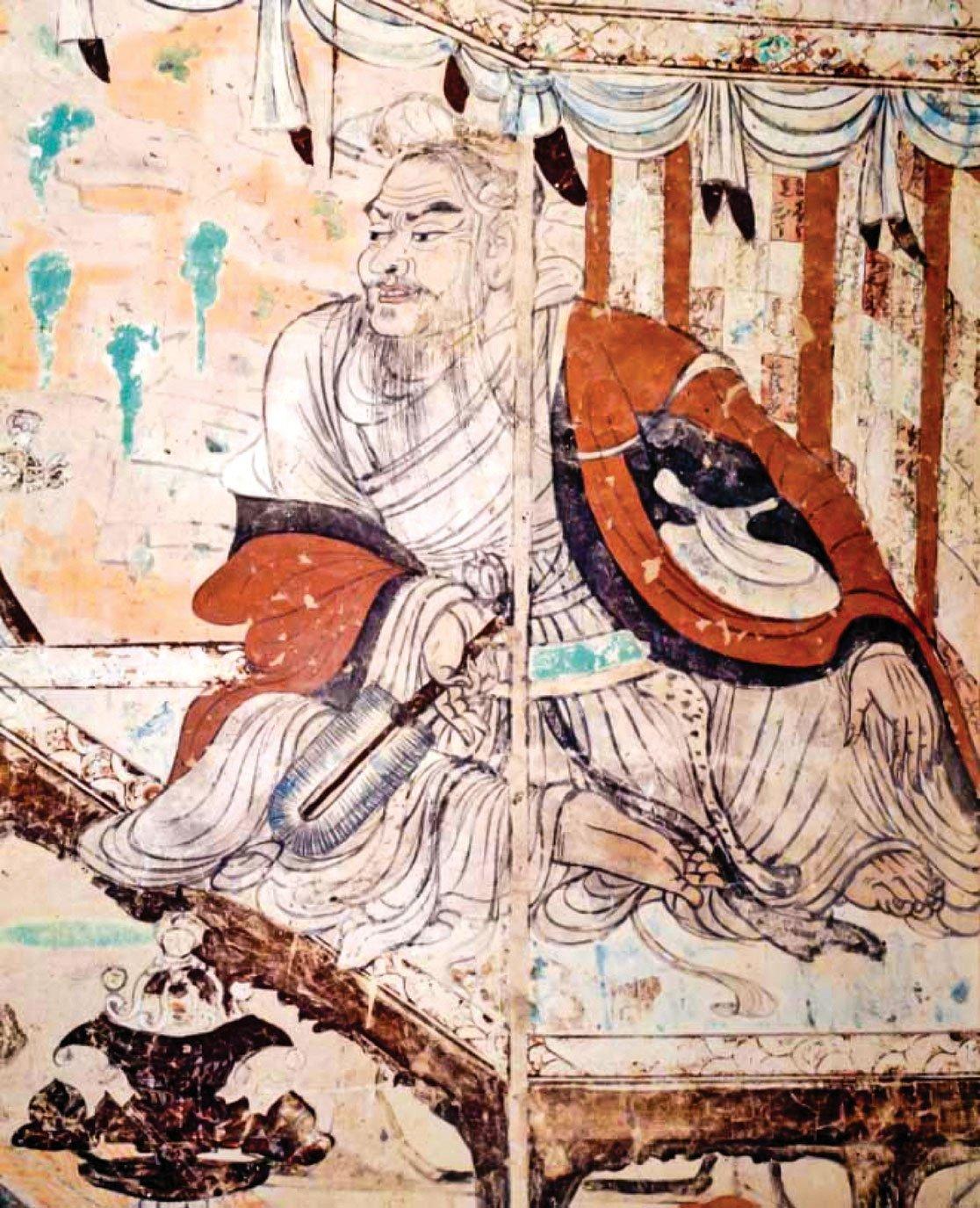 此為敦煌莫高窟的唐代第103窟《維摩詰經變》的維摩詰像,具有吳家樣特徵。(公有領域)