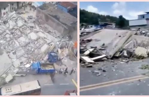 湖南省汝城縣一棟7層居民樓6月19日突然垮塌,多人被活埋。(影片截圖)