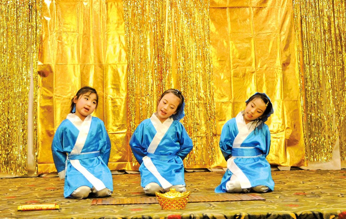 圖為兒童《三字經》表演。(童宇/大紀元)