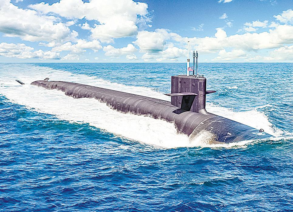 哥倫比亞級戰略核潛艇是美國歷史上最大的潛艇,裝備了16枚三叉戟II D-5潛射彈道導彈。(美國海軍)