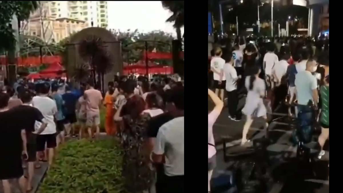 網傳影片指,佛山市南海區居民連日抗議,要求解封。(推特影片截圖)