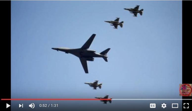 美軍9月13日上午從關島安德森空軍基地(Andersen Air Force Base)出動兩架B-1「槍騎兵」(Lancer)戰略轟炸機,飛抵駐韓美軍烏山空軍基地鄰近空域,對朝鮮展示武力。(電視擷圖)