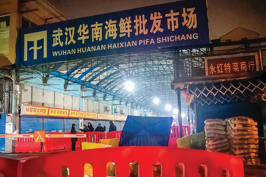 2020年1月11日,中共關閉了武漢華南海鮮市場,謊稱此處是病毒來源,但拒絕承認中共病毒已經大量出現人傳人的事實。(Noel Celis/AFP via Getty Images)