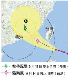 颱風莫蘭蒂路徑:天文台預測颱風莫蘭蒂今早進入本港800公里範圍內,屆時或發出1號戒備訊號。(資料來源:香港天文台)