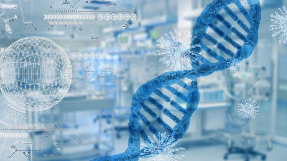 中共病毒(SARS-CoV-2)在全球大流行的過程中一直在發生突變,研究該病毒早期的基因序列對於追查疫情的起源具有重要意義。(中共病毒與基因鏈示意圖)(PixxlTeufel/Pixabay)