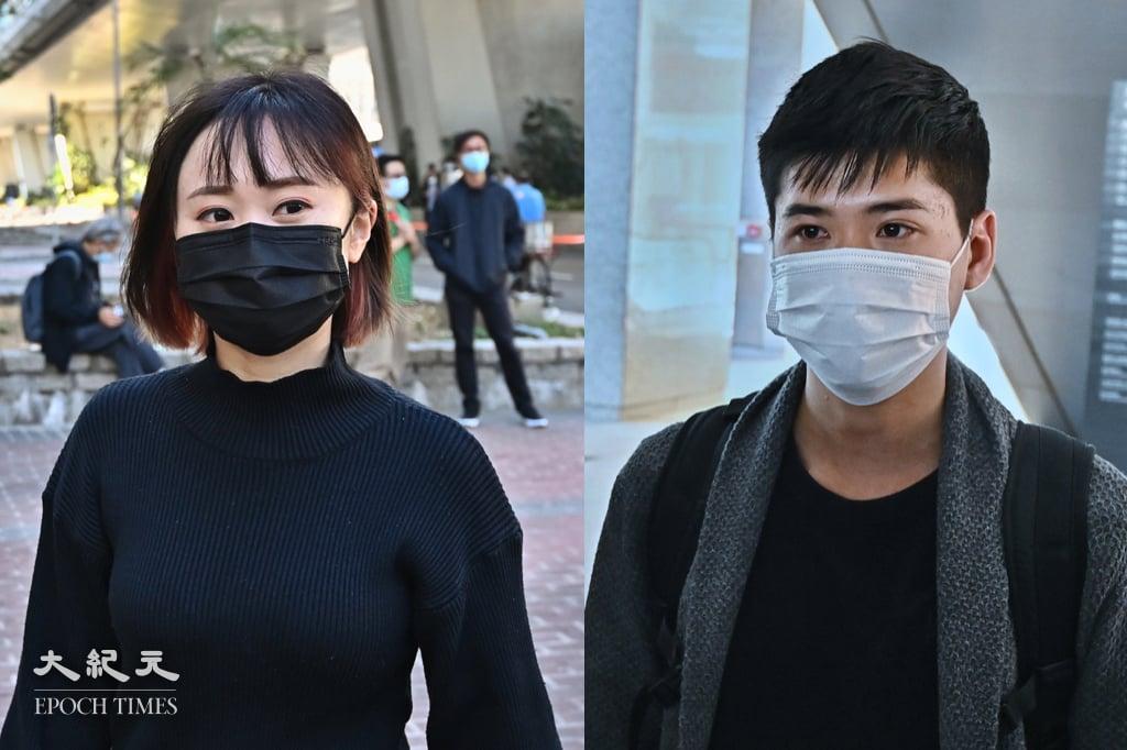 岑敖暉(右)和袁嘉蔚(左)上月就去年六四集會案判刑提出上訴,並申請上訴期間獲得保釋,今(25日)保釋申請被拒。(大紀元製圖)