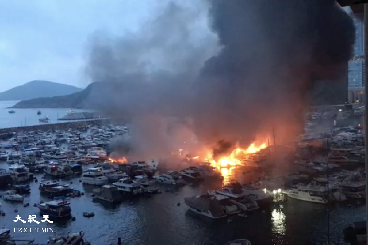 香港仔南避風塘凌晨發生三級火,波及逾30艘船,35人疏散,1人不適送,火警在8時40分大致救熄。(影片擷圖)