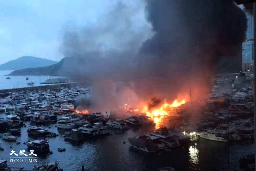 (影片) 香港仔南避風塘三級火 波及逾30船 1人送院