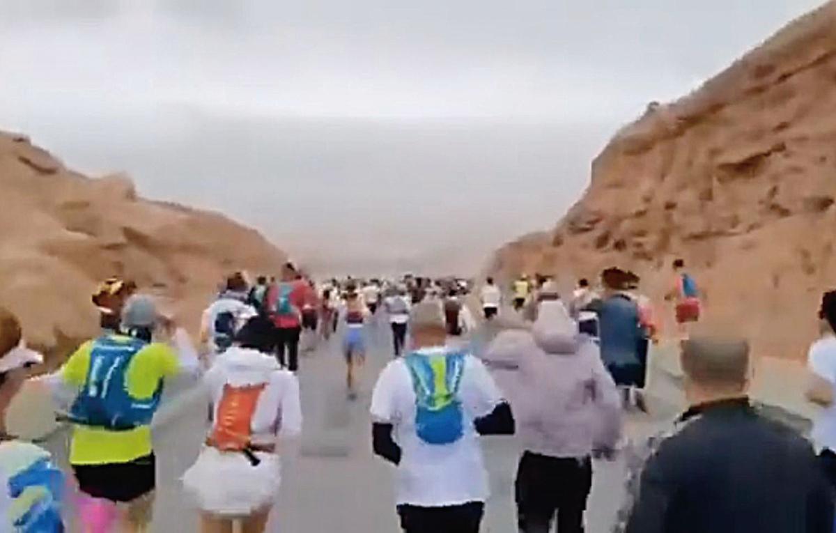 2021年5月22日,甘肅白銀一山地馬拉松越野賽,造成21人遇難。(影片截圖)