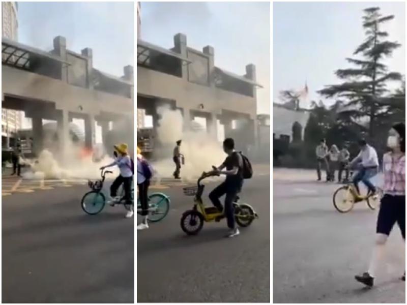 網傳視頻:中共外交部前老人縱火抗議被抓