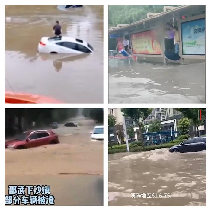 大陸各地暴雨天氣,汽車被淹,道路被雨水浸沒,人們只能爬高等待救援。(影片截圖)