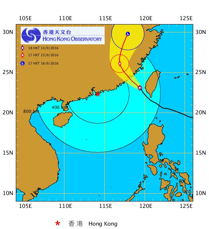 香港天文台在今日(14日)下午4時45分發佈消息指,按照最新預測路徑,莫蘭蒂會於明早在香港四百多公里以外的福建沿岸登陸。香港受莫蘭蒂的影響有所減低,本港普遍風力不會顯著增強,需要改發三號強風信號的機會不大。(香港天文台網頁)