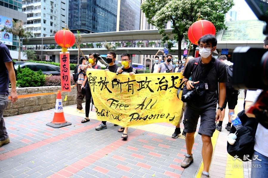 社民連今早往金紫荊廣場七一升旗禮抗議