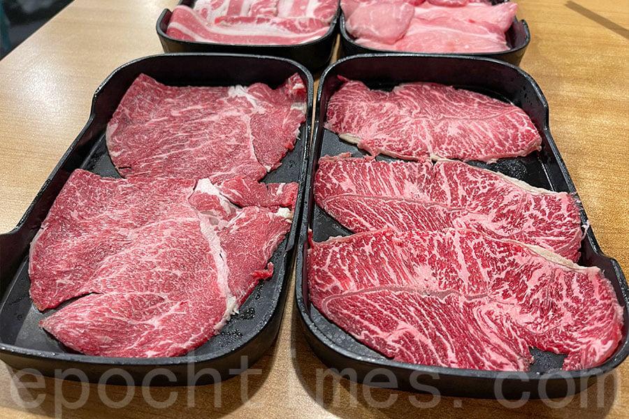 安格斯肩胛牛肉、美國極上牛頸脊、安格斯牛板腱和西班牙豬梅肉片等等。(Siu Shan提供)