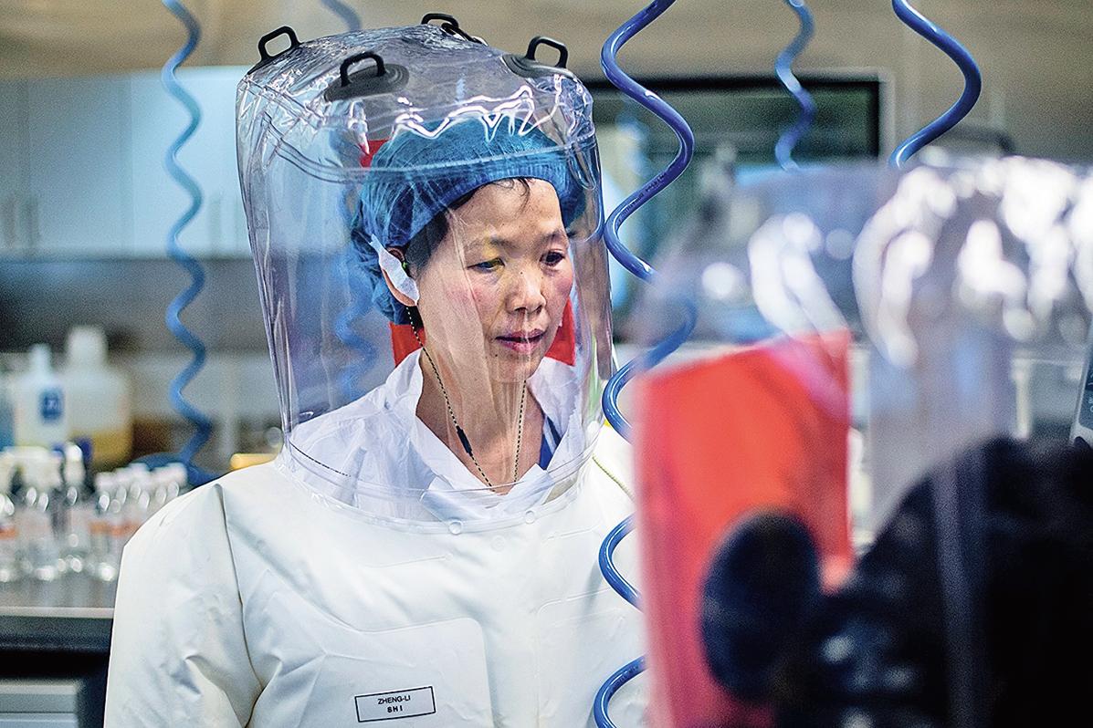 中國武漢病毒研究所P4 實驗室的石正麗研究員在進行實驗。(Getty Images)